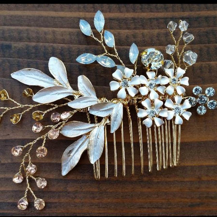 Goudkleurige Haarkam met Bloemen-8