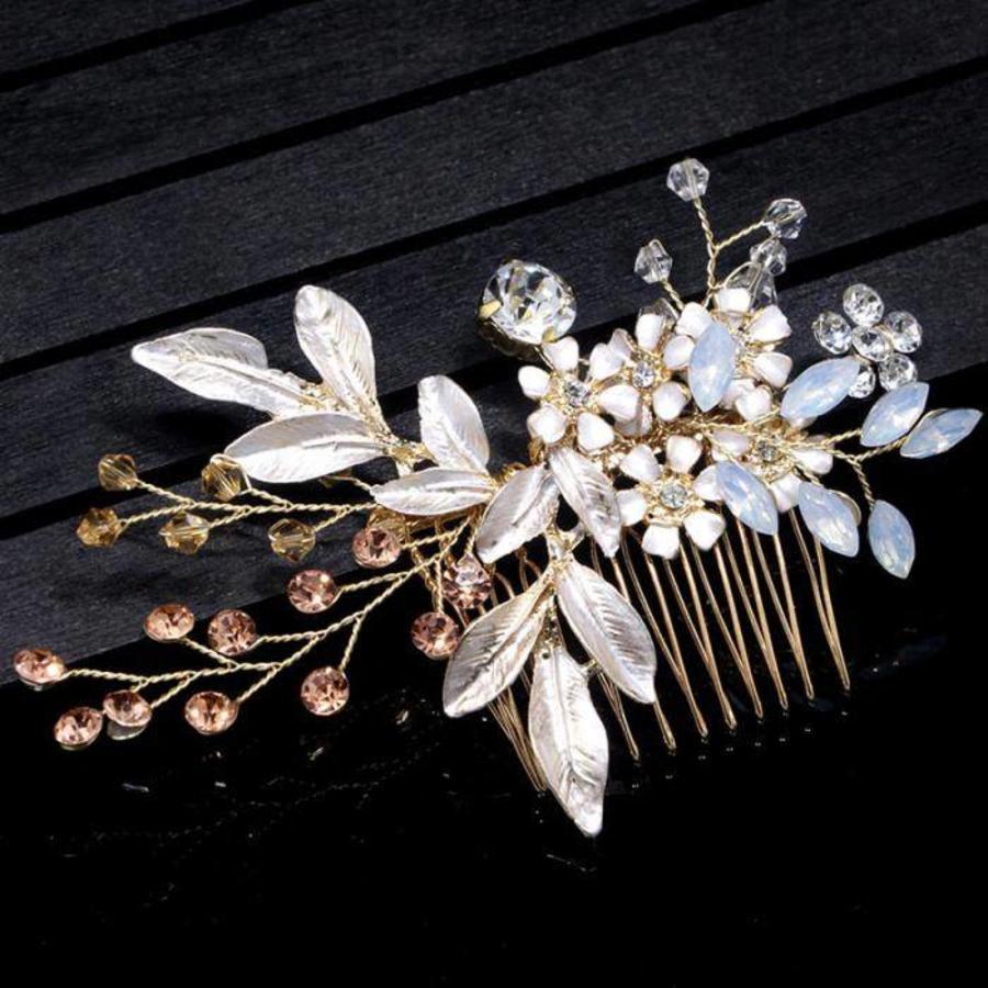 Goudkleurige Haarkam met Bloemen-6