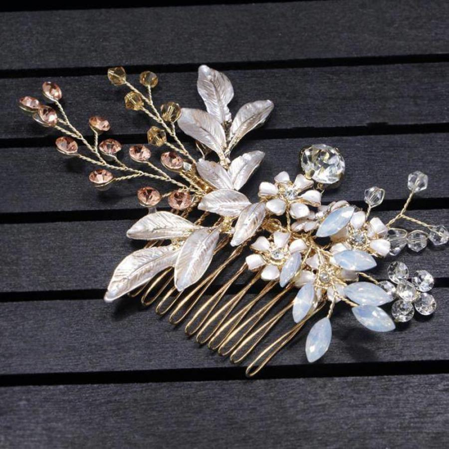 Goudkleurige Haarkam met Bloemen-7