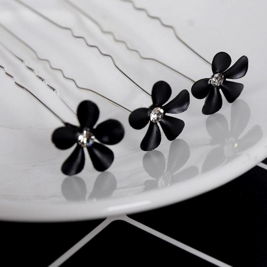 Hairpins – Black Flower - Zwart- 5 stuks-2