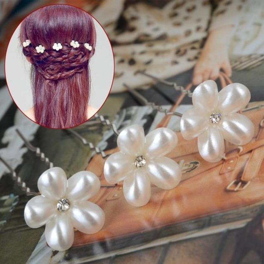 Hairpins - Bloem met Diamantje- Ivoor - 2 stuks-4