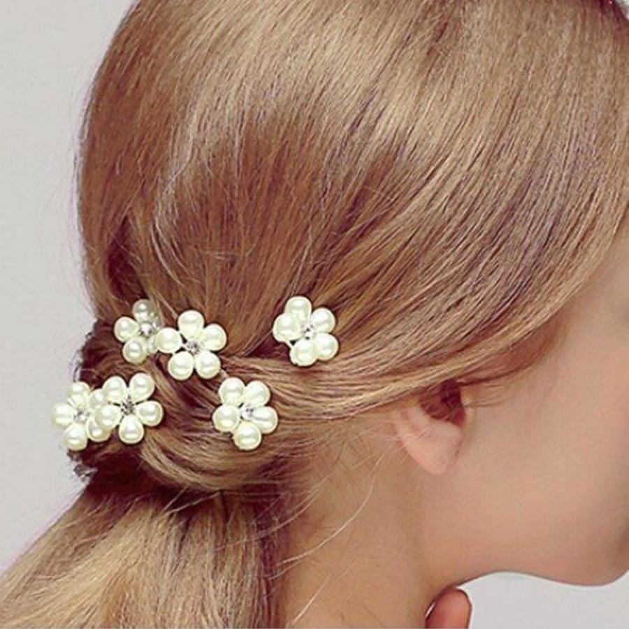 Hairpins - Bloem met Diamantje- Ivoor - 2 stuks-2