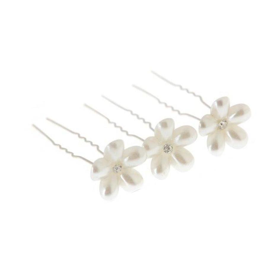 Hairpins - Bloem met Diamantje- Ivoor - 2 stuks-3
