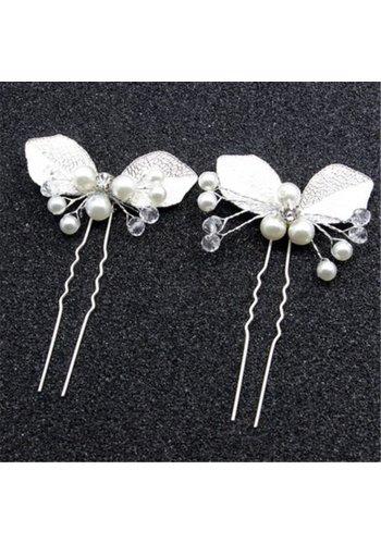 Zilverkleurige Hairpin met Ivoorkleurige Parels - 2 Stuks