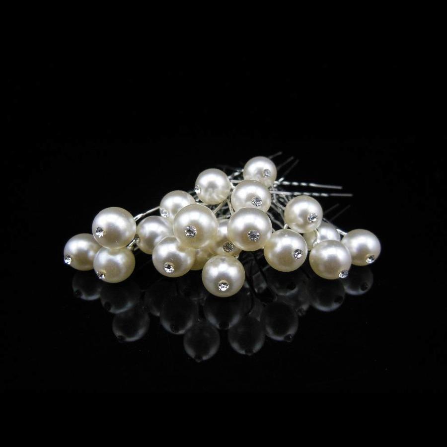 Hairpins – Pareltje Ivoor met 'Diamantje' - 5 stuks-2
