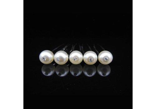 Hairpins – Pareltje Ivoor met 'Diamantje' - 5 stuks