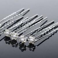 thumb-Hairpins – Schattig bloemetje met Parel en Kristallen - 5 stuks-1