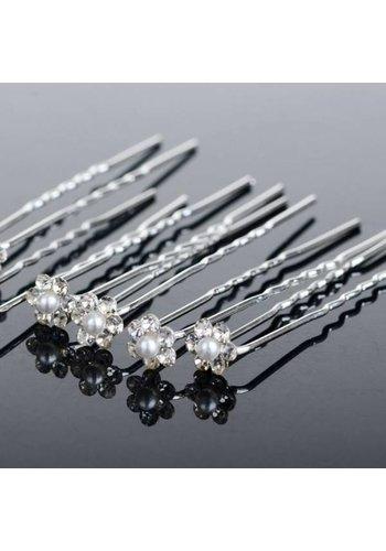 Hairpins – Schattig bloemetje met Parel en Kristallen - 5 stuks
