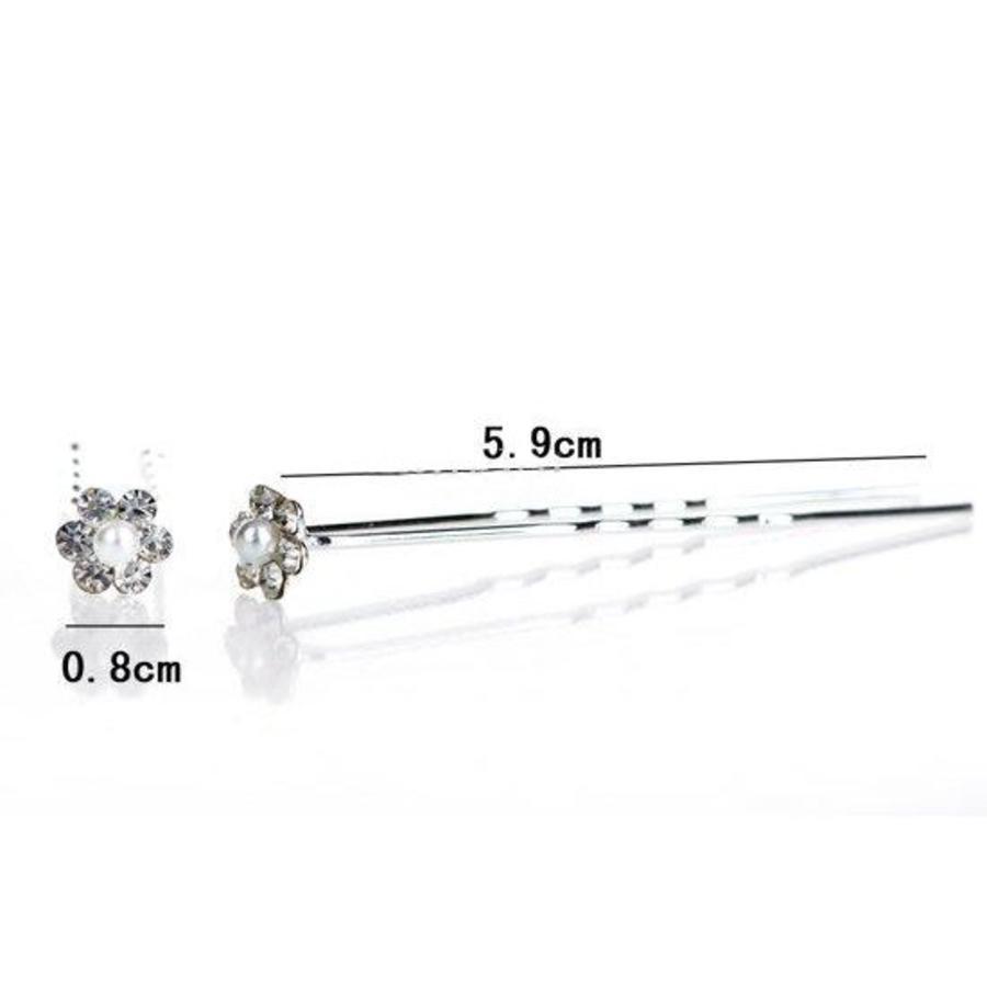 Hairpins – Schattig bloemetje met Parel en Kristallen - 5 stuks-2
