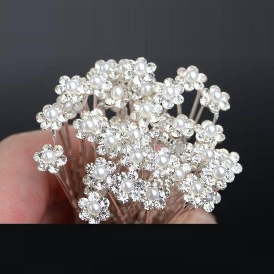 Hairpins – Schattig bloemetje met Parel en Kristallen - 5 stuks-3
