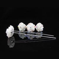 thumb-Hairpins – Ivoorkleurige Roos met Kristalletje - 5 stuks-3