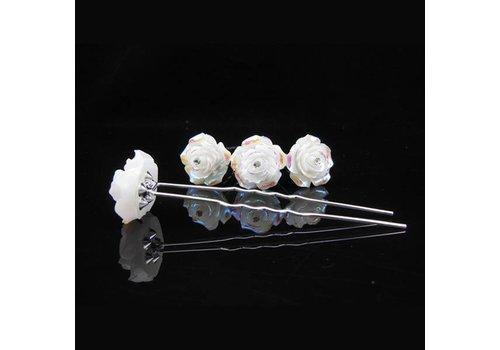 Hairpins – Ivoorkleurige Roos met Kristalletje - 5 stuks
