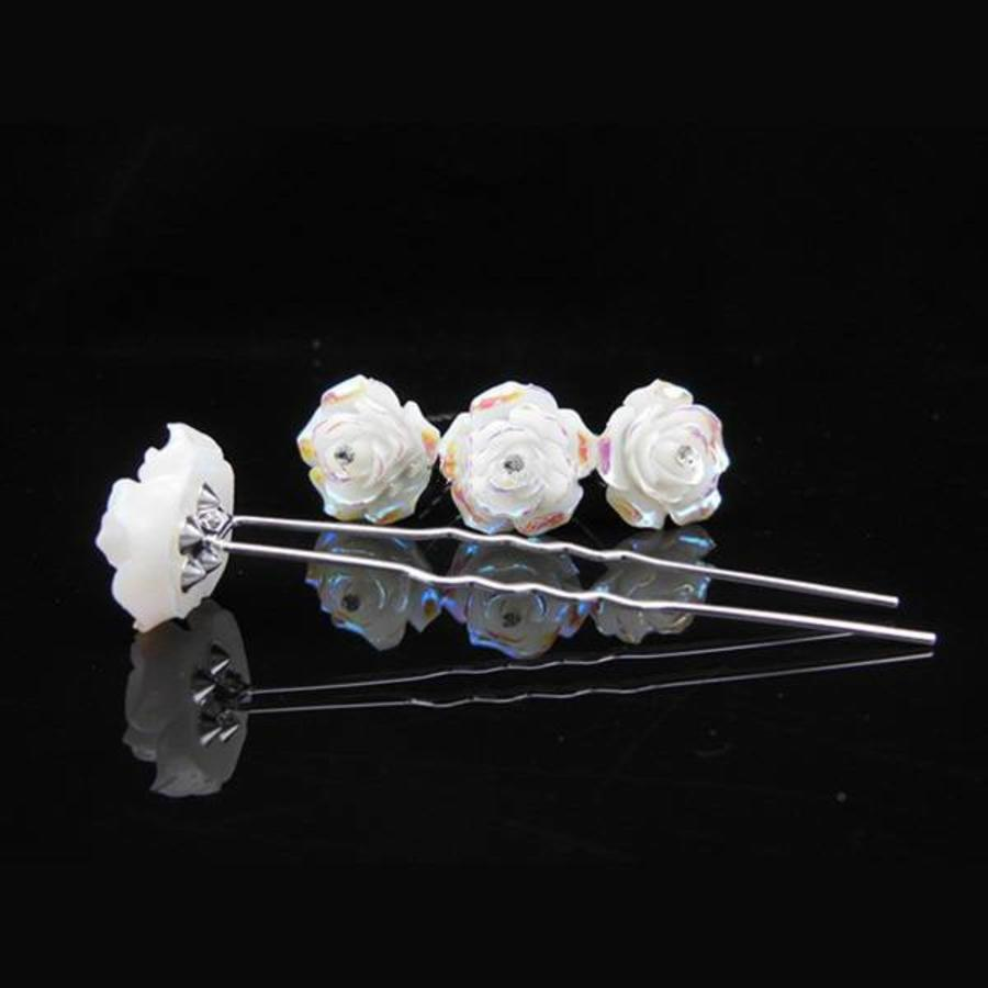 Hairpins – Ivoorkleurige Roos met Kristalletje - 5 stuks-3