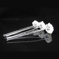 thumb-Hairpins – Ivoorkleurige Roos met Kristalletje - 5 stuks-4