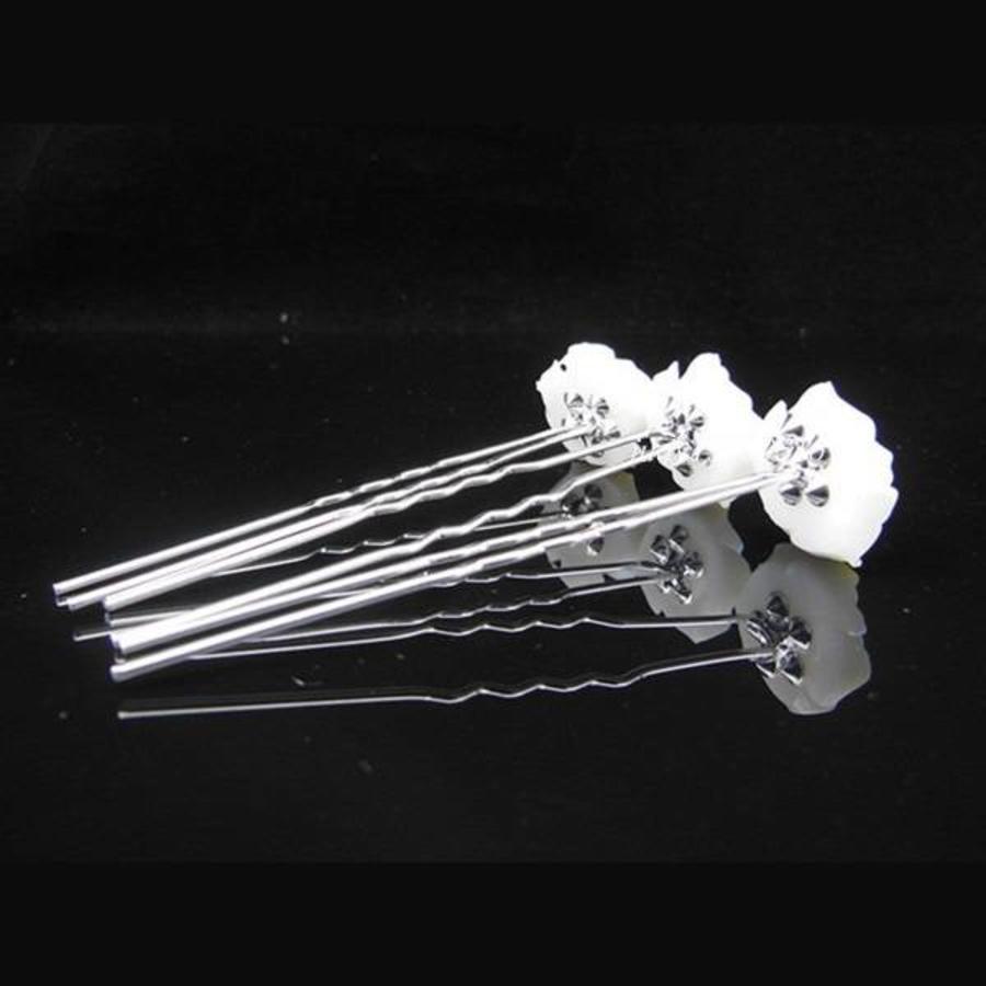 Hairpins – Ivoorkleurige Roos met Kristalletje - 5 stuks-4