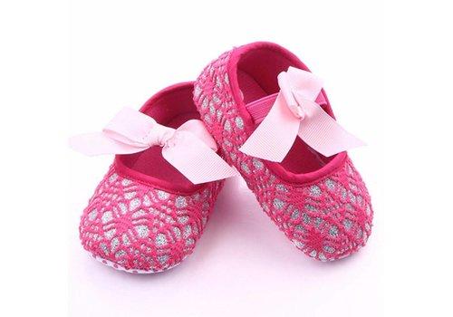 Roze Ballerina's / Babyschoentjes met Glitter - 6 tot 12 maanden