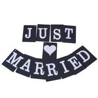 thumb-JUST MARRIED Slinger - Zwart -  Bruiloft Decoratie-1