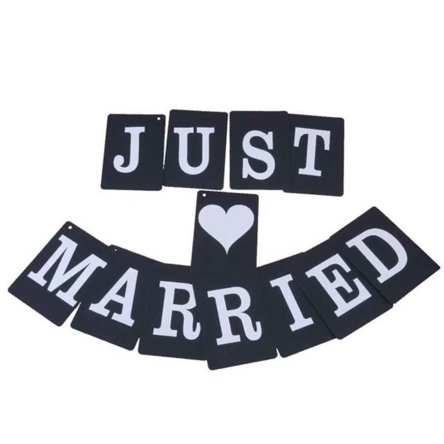 JUST MARRIED Slinger - Zwart -  Bruiloft Decoratie-1