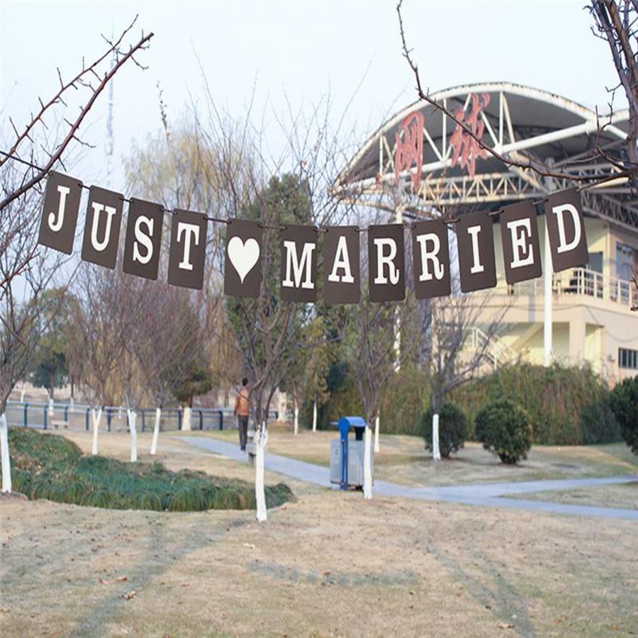 JUST MARRIED Slinger - Zwart -  Bruiloft Decoratie-2