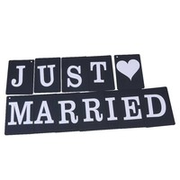 thumb-JUST MARRIED Slinger - Zwart -  Bruiloft Decoratie-4