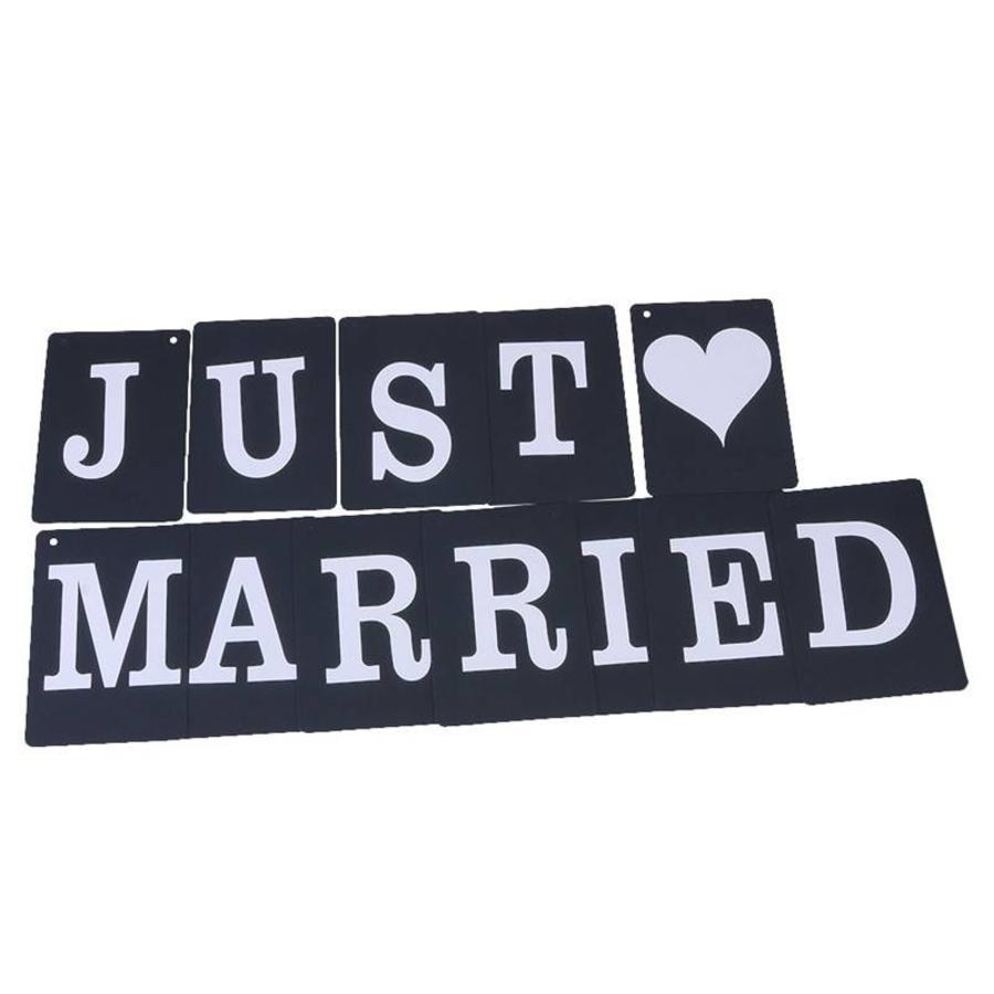 JUST MARRIED Slinger - Zwart -  Bruiloft Decoratie-4