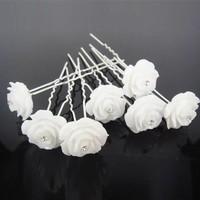 thumb-Hairpins – Grote Roos Ivoor met 'Diamantje' - 5 stuks-3