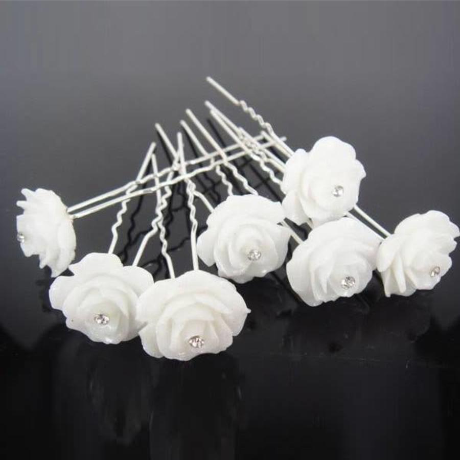 Hairpins – Grote Roos Ivoor met 'Diamantje' - 5 stuks-3