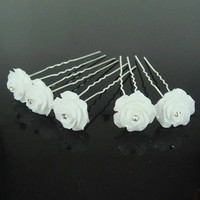 thumb-Hairpins – Grote Roos Ivoor met 'Diamantje' - 5 stuks-2