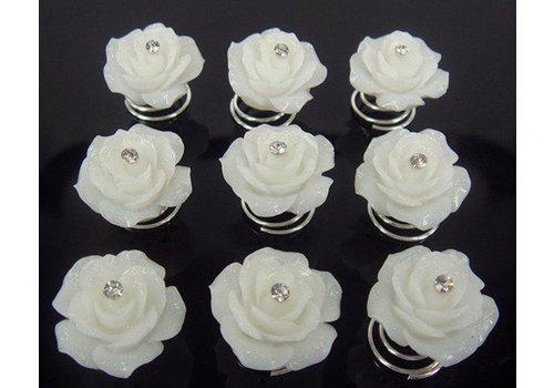 Prachtige Ivoorkleurige Roosjes met Diamantje Curlies - 6 stuks
