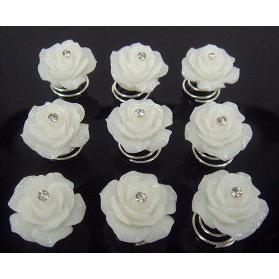 Prachtige Ivoorkleurige Roosjes met Diamantje Curlies - 6 stuks-1