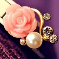 thumb-SALE - Chique Goudkleurige Oorbellen met Roze Roosje-7