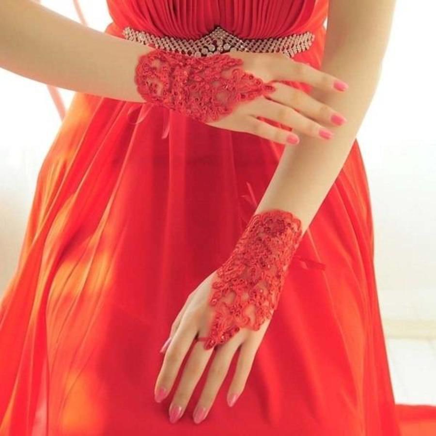 Elegante Bruidshandschoenen - Rood-3