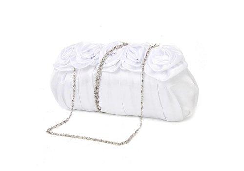 Elegant Bruidstasje - Clutch - Wit - met Roosjes