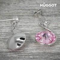 thumb-HÛGGOT - Geplateerde Rhodium Oorbellen Roze  met Swarovski Kristallen-2