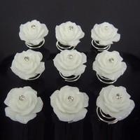 thumb-Prachtige Ivoorkleurige Roosjes met Diamantje Curlies - 6 stuks-2