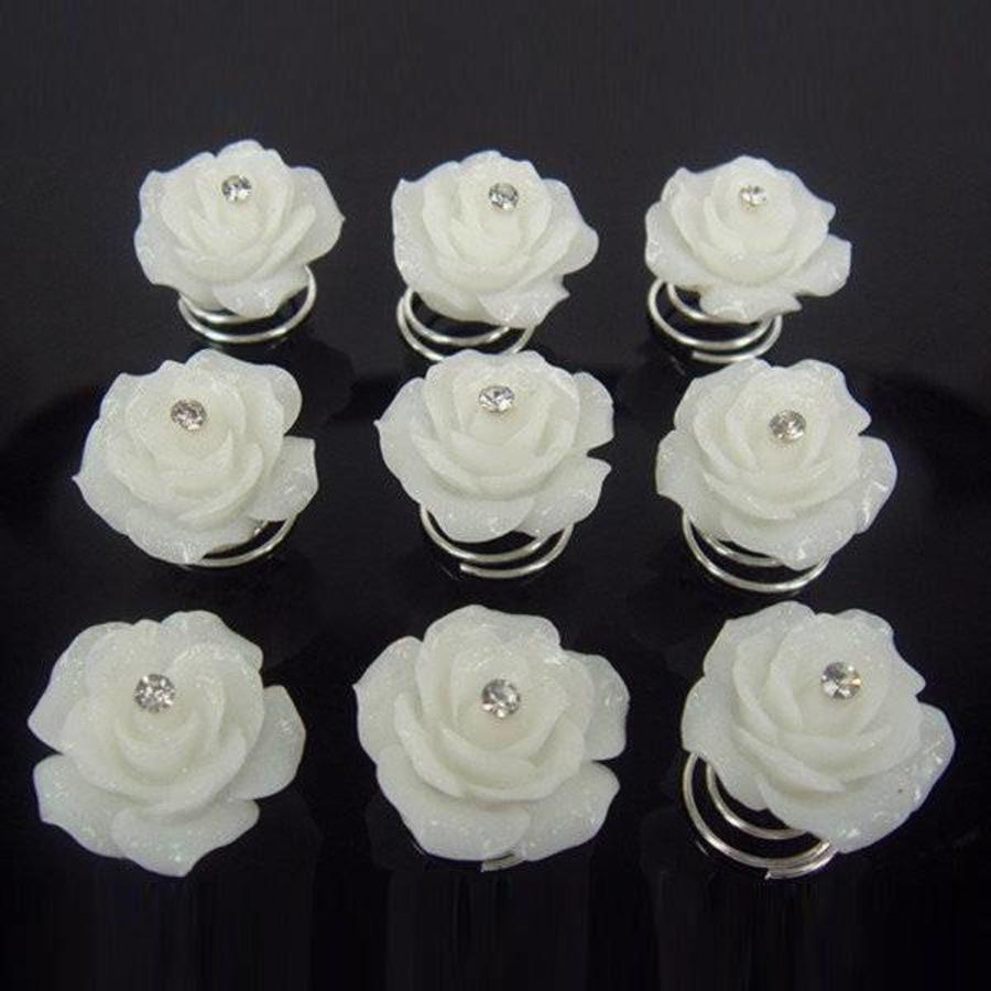 Prachtige Ivoorkleurige Roosjes met Diamantje Curlies - 6 stuks-2