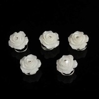 thumb-Prachtige Ivoorkleurige Roosjes met Diamantje Curlies - 6 stuks-1