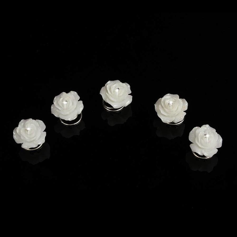 Prachtige Ivoorkleurige Roosjes met Diamantje Curlies - 6 stuks-3