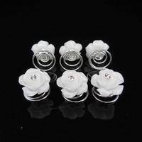 thumb-PaCaZa - Prachtige Witte Roosjes met Diamantje Curlies - 5 stuks-3