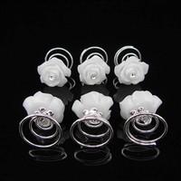 thumb-PaCaZa - Prachtige Witte Roosjes met Diamantje Curlies - 5 stuks-4