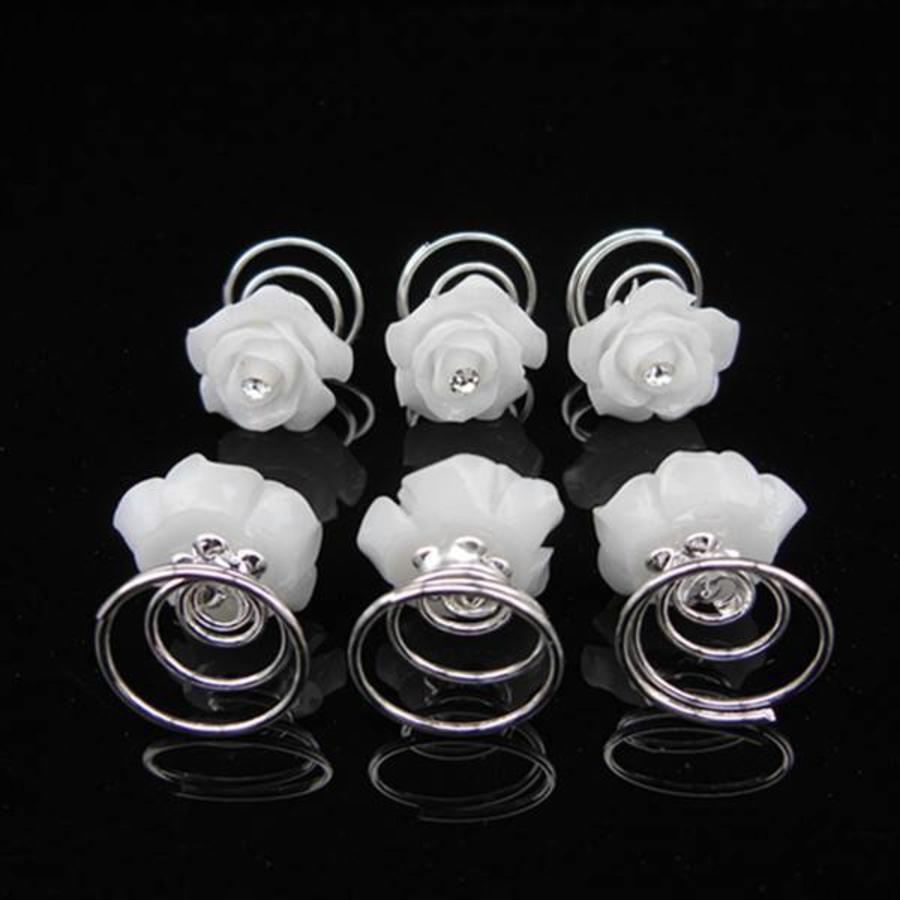 PaCaZa - Prachtige Witte Roosjes met Diamantje Curlies - 5 stuks-4