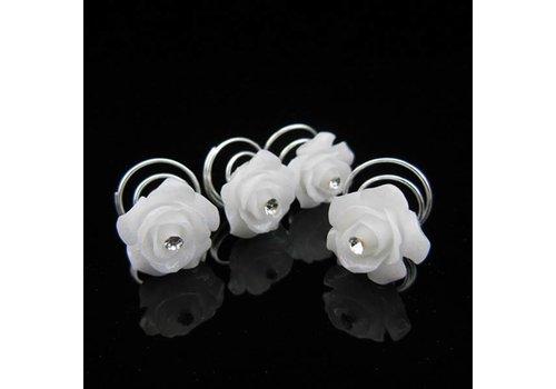 Prachtige Witte Roosjes met Diamantje Curlies - 5 stuks