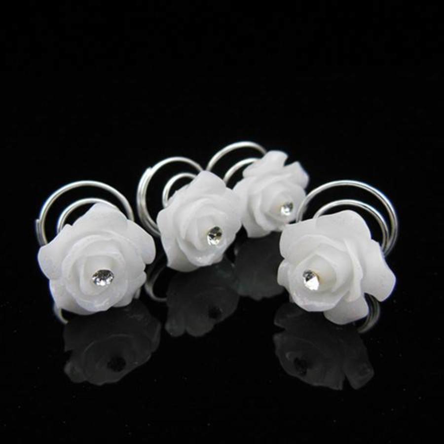 PaCaZa - Prachtige Witte Roosjes met Diamantje Curlies - 5 stuks-1