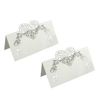 thumb-Tafelkaartjes / Plaatskaartjes - 50 stuks - Off White - Hart-1