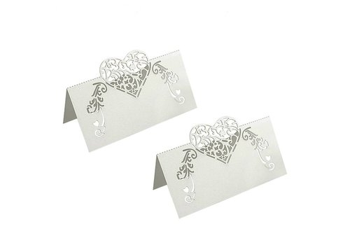 Tafelkaartjes / Plaatskaartjes - 50 stuks - Off White - Hart