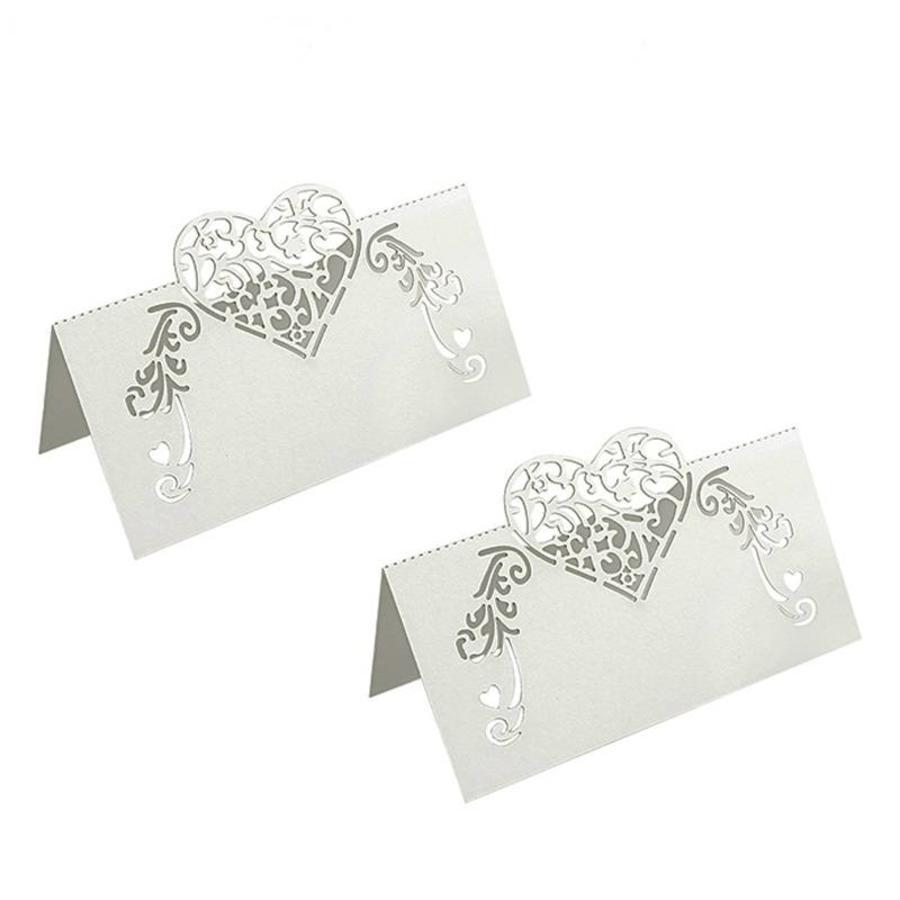 Tafelkaartjes / Plaatskaartjes - 50 stuks - Off White - Hart-1