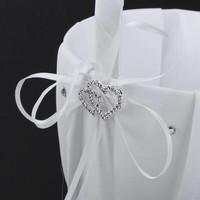 thumb-Bloemenmandje / Strooimandje Wit met Fonkelende Hartjes en Diamantjes-2