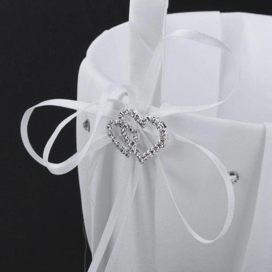 Bloemenmandje / Strooimandje Wit met Fonkelende Hartjes en Diamantjes-2