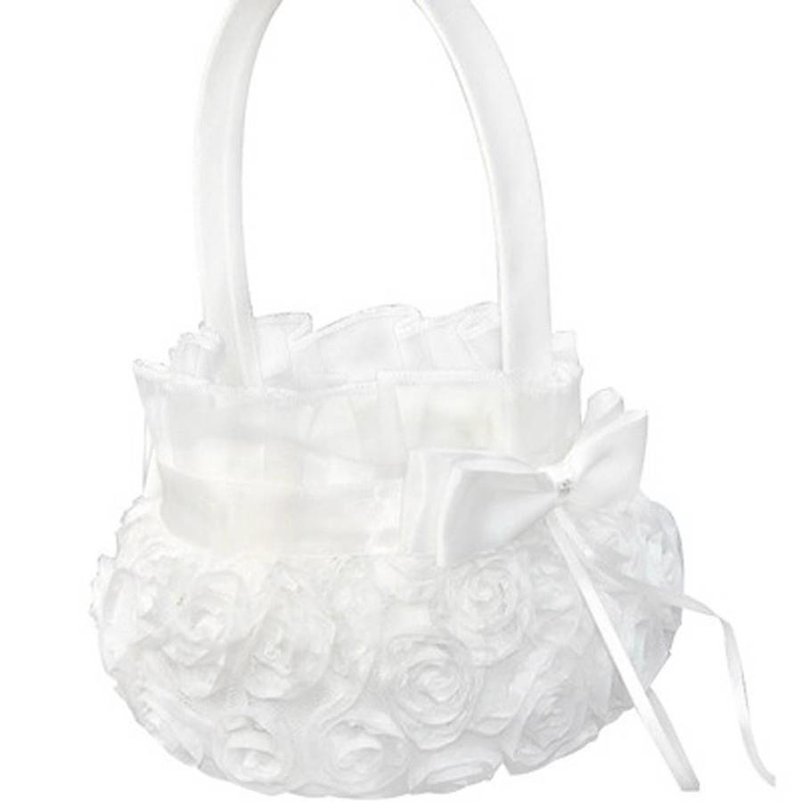 Bloemenmandje / Strooimandje Wit met Roosjes-1