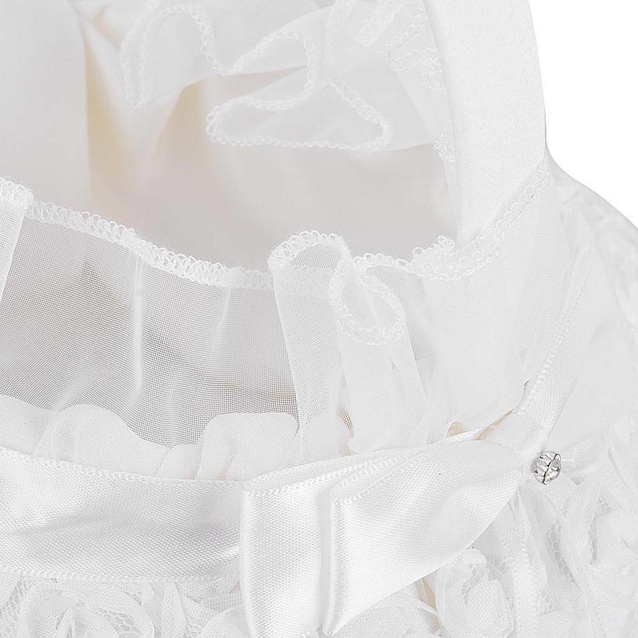 Bloemenmandje / Strooimandje Wit met Roosjes-5